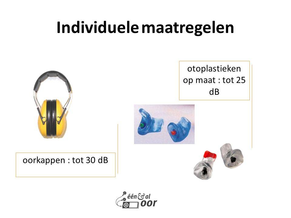 Individuele maatregelen oorkappen : tot 30 dB otoplastieken op maat : tot 25 dB