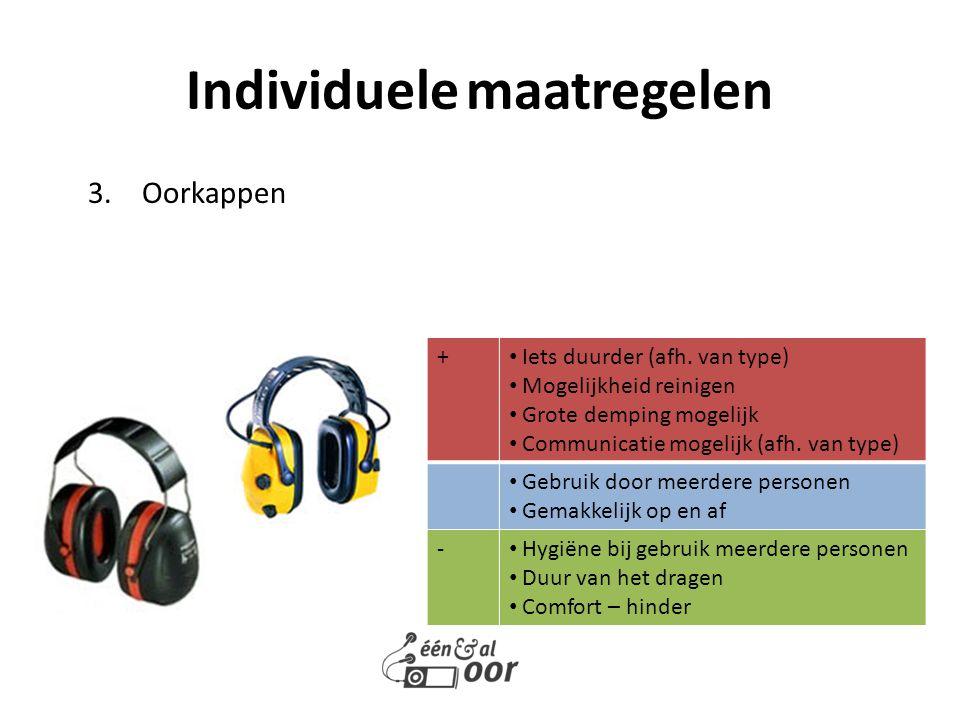 3.Oorkappen Individuele maatregelen + Iets duurder (afh. van type) Mogelijkheid reinigen Grote demping mogelijk Communicatie mogelijk (afh. van type)
