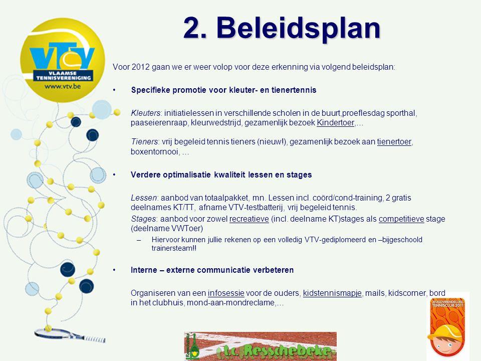 2. Beleidsplan Voor 2012 gaan we er weer volop voor deze erkenning via volgend beleidsplan: Specifieke promotie voor kleuter- en tienertennis Kleuters