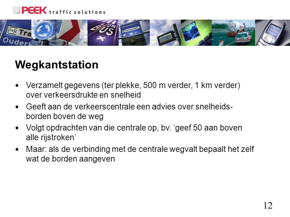 12 Wegkantstation Verzamelt gegevens (ter plekke, 500 m verder, 1 km verder) over verkeersdrukte en snelheid Geeft aan de verkeerscentrale een advies