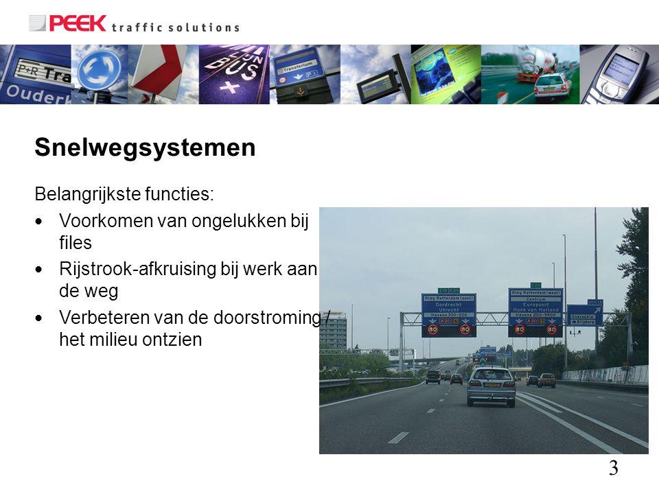 3 Snelwegsystemen Belangrijkste functies: Voorkomen van ongelukken bij files Rijstrook-afkruising bij werk aan de weg Verbeteren van de doorstroming /