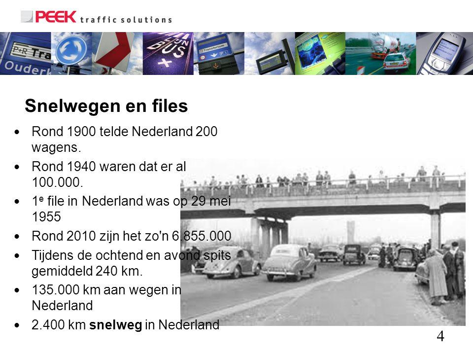 4 Snelwegen en files Rond 1900 telde Nederland 200 wagens. Rond 1940 waren dat er al 100.000. 1 e file in Nederland was op 29 mei 1955 Rond 2010 zijn