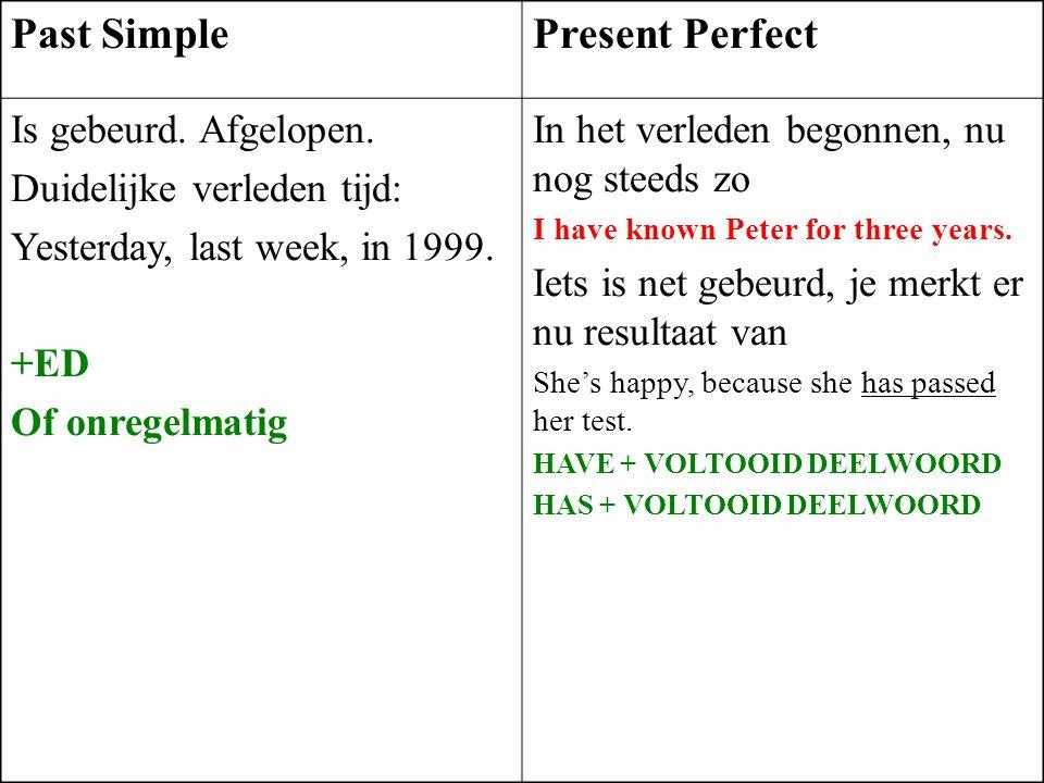 Past SimplePresent Perfect Is gebeurd. Afgelopen. Duidelijke verleden tijd: Yesterday, last week, in 1999. +ED Of onregelmatig In het verleden begonne