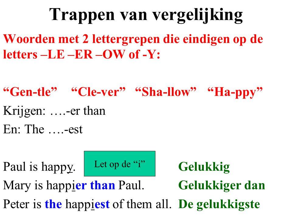 """Trappen van vergelijking Woorden met 2 lettergrepen die eindigen op de letters –LE –ER –OW of -Y: """"Gen-tle"""" """"Cle-ver"""" """"Sha-llow"""" """"Ha-ppy"""" Krijgen: ….-"""