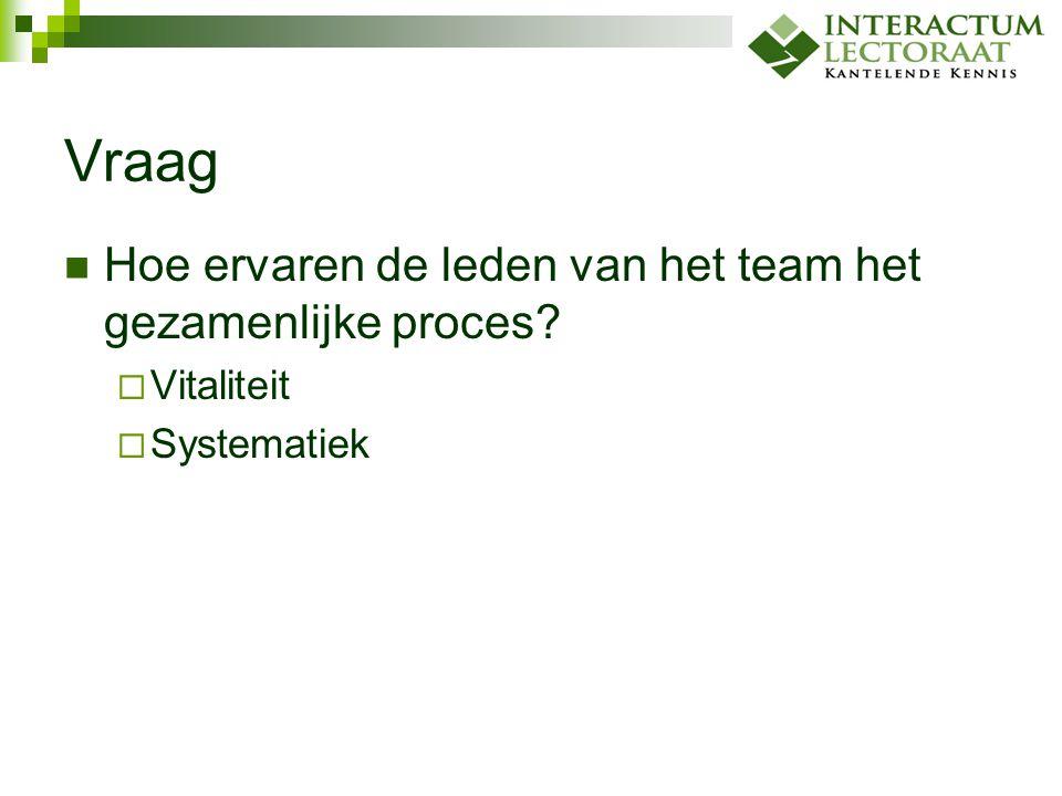 Vraag Hoe ervaren de leden van het team het gezamenlijke proces?  Vitaliteit  Systematiek