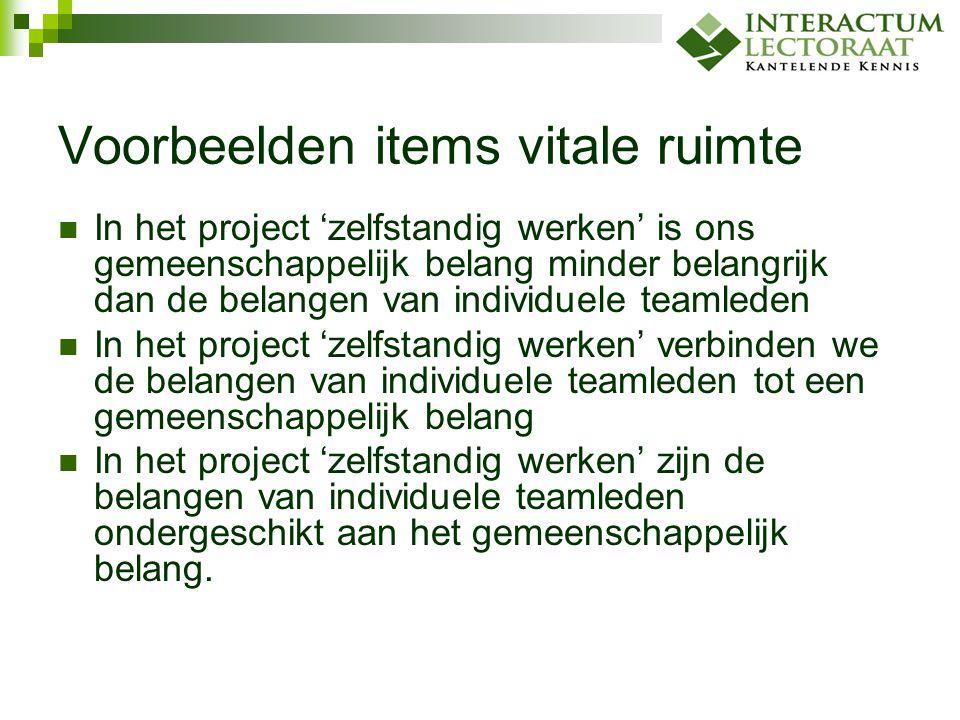 Voorbeelden items vitale ruimte In het project 'zelfstandig werken' is ons gemeenschappelijk belang minder belangrijk dan de belangen van individuele