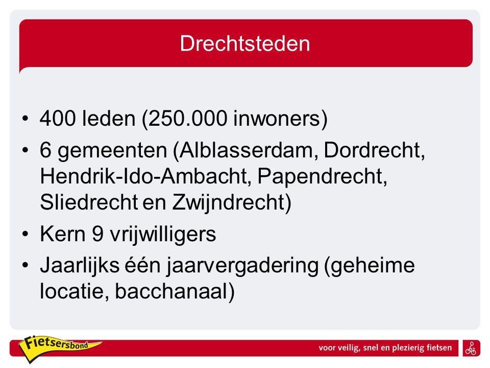 Drechtsteden 400 leden (250.000 inwoners) 6 gemeenten (Alblasserdam, Dordrecht, Hendrik-Ido-Ambacht, Papendrecht, Sliedrecht en Zwijndrecht) Kern 9 vrijwilligers Jaarlijks één jaarvergadering (geheime locatie, bacchanaal)