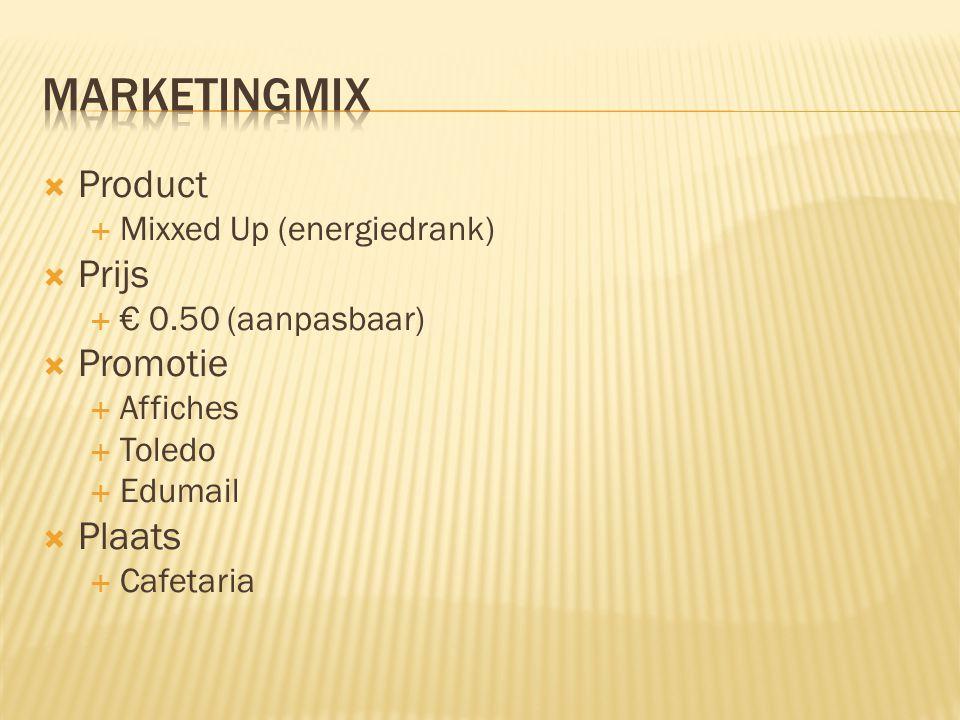  Product  Mixxed Up (energiedrank)  Prijs  € 0.50 (aanpasbaar)  Promotie  Affiches  Toledo  Edumail  Plaats  Cafetaria