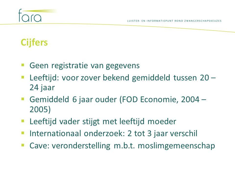 Cijfers  Geen registratie van gegevens  Leeftijd: voor zover bekend gemiddeld tussen 20 – 24 jaar  Gemiddeld 6 jaar ouder (FOD Economie, 2004 – 200