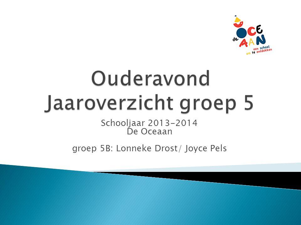 Schooljaar 2013-2014 De Oceaan groep 5B: Lonneke Drost/ Joyce Pels