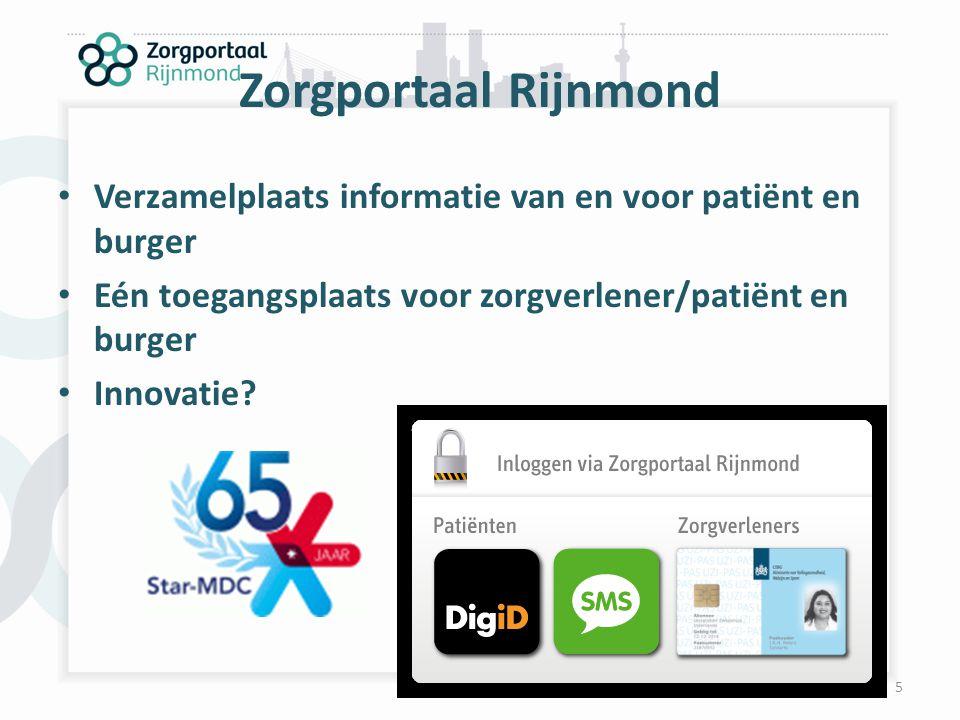 Zorgportaal Rijnmond Verzamelplaats informatie van en voor patiënt en burger Eén toegangsplaats voor zorgverlener/patiënt en burger Innovatie? 5