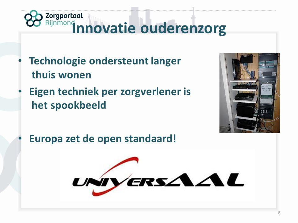 Innovatie ouderenzorg Technologie ondersteunt langer thuis wonen Eigen techniek per zorgverlener is het spookbeeld Europa zet de open standaard! 6
