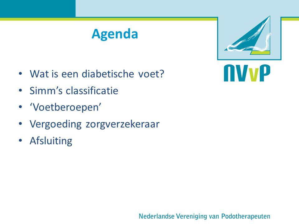 Agenda Wat is een diabetische voet? Simm's classificatie 'Voetberoepen' Vergoeding zorgverzekeraar Afsluiting