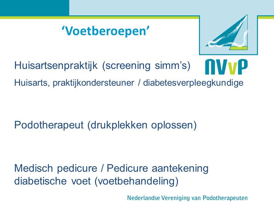 'Voetberoepen' Huisartsenpraktijk (screening simm's) Huisarts, praktijkondersteuner / diabetesverpleegkundige Podotherapeut (drukplekken oplossen) Med