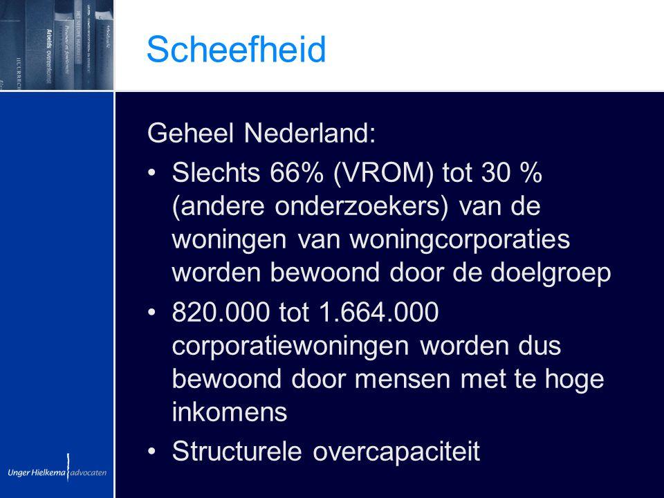 Scheefheid Geheel Nederland: Slechts 66% (VROM) tot 30 % (andere onderzoekers) van de woningen van woningcorporaties worden bewoond door de doelgroep