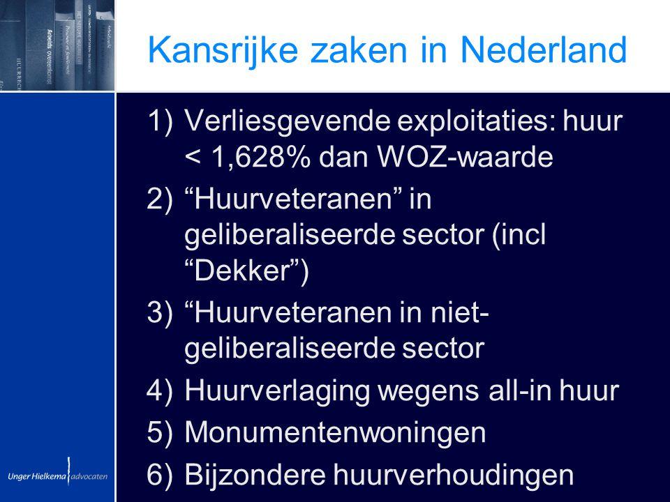 """Kansrijke zaken in Nederland 1)Verliesgevende exploitaties: huur < 1,628% dan WOZ-waarde 2)""""Huurveteranen"""" in geliberaliseerde sector (incl """"Dekker"""")"""