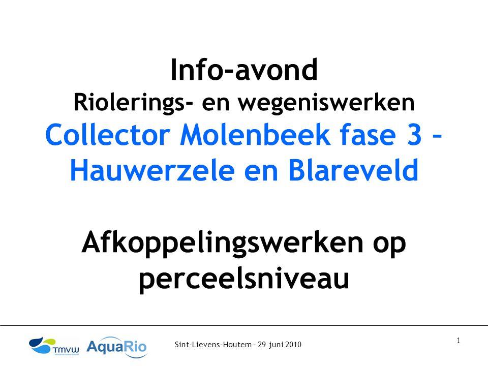 Sint-Lievens-Houtem – 29 juni 2010 1 Info-avond Riolerings- en wegeniswerken Collector Molenbeek fase 3 – Hauwerzele en Blareveld Afkoppelingswerken op perceelsniveau