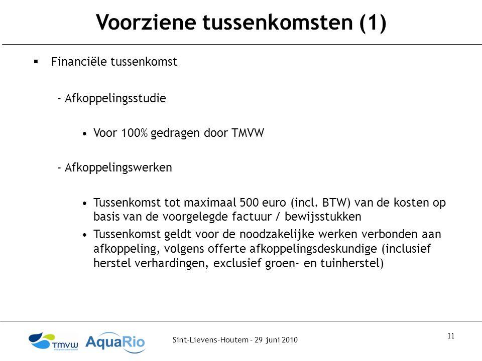 Sint-Lievens-Houtem – 29 juni 2010 11 Voorziene tussenkomsten (1)  Financiële tussenkomst - Afkoppelingsstudie Voor 100% gedragen door TMVW - Afkoppelingswerken Tussenkomst tot maximaal 500 euro (incl.