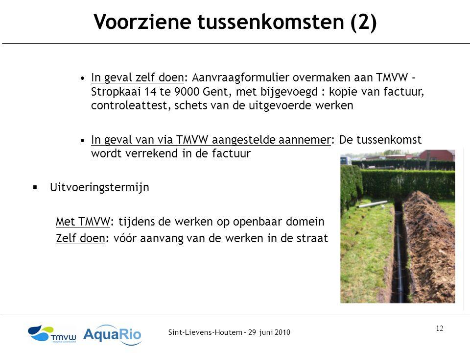 Sint-Lievens-Houtem – 29 juni 2010 12 Voorziene tussenkomsten (2) In geval zelf doen: Aanvraagformulier overmaken aan TMVW – Stropkaai 14 te 9000 Gent, met bijgevoegd : kopie van factuur, controleattest, schets van de uitgevoerde werken In geval van via TMVW aangestelde aannemer: De tussenkomst wordt verrekend in de factuur  Uitvoeringstermijn Met TMVW: tijdens de werken op openbaar domein Zelf doen: vóór aanvang van de werken in de straat