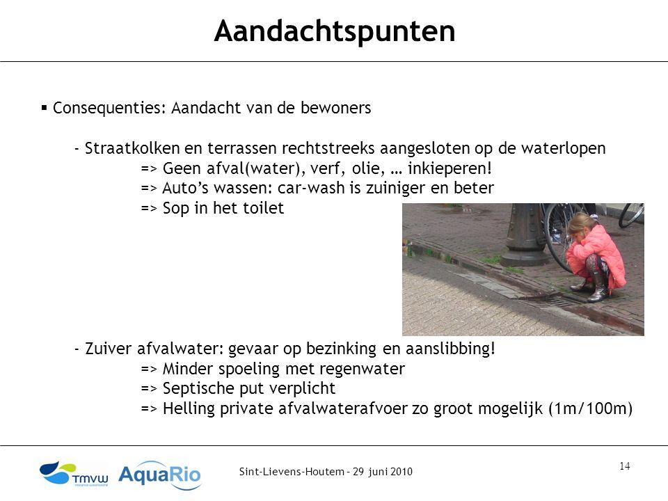 Sint-Lievens-Houtem – 29 juni 2010 14 Aandachtspunten  Consequenties: Aandacht van de bewoners - Straatkolken en terrassen rechtstreeks aangesloten op de waterlopen => Geen afval(water), verf, olie, … inkieperen.