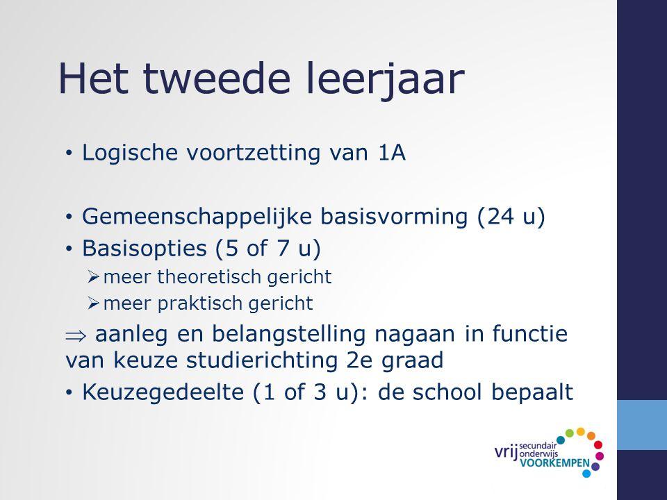 Het tweede leerjaar Logische voortzetting van 1A Gemeenschappelijke basisvorming (24 u) Basisopties (5 of 7 u)  meer theoretisch gericht  meer prakt