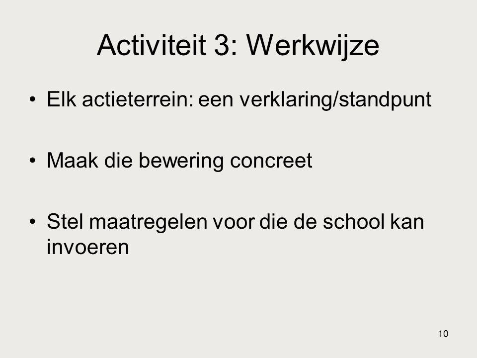 10 Activiteit 3: Werkwijze Elk actieterrein: een verklaring/standpunt Maak die bewering concreet Stel maatregelen voor die de school kan invoeren