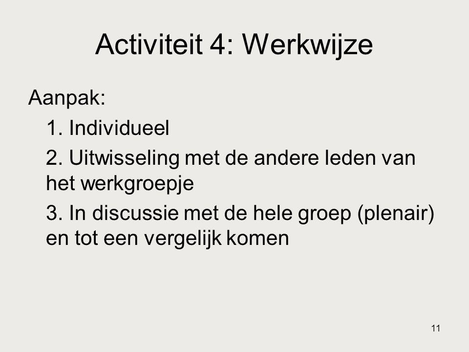 11 Activiteit 4: Werkwijze Aanpak: 1. Individueel 2. Uitwisseling met de andere leden van het werkgroepje 3. In discussie met de hele groep (plenair)