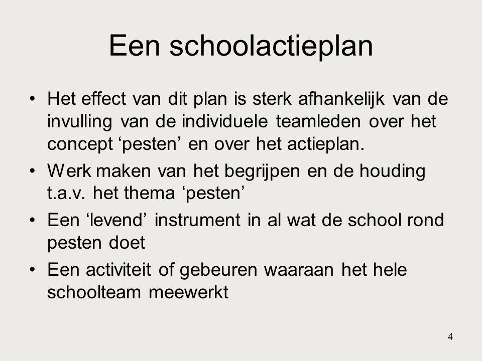 4 Een schoolactieplan Het effect van dit plan is sterk afhankelijk van de invulling van de individuele teamleden over het concept 'pesten' en over het