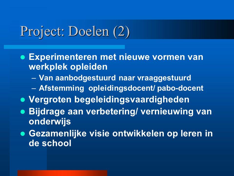 Project: Doelen (1) Koppeling tussen: opleiden in de school en kleinschalige schoolontwikkeling 'Het mes snijdt aan twee kanten': –Student / leerkrach