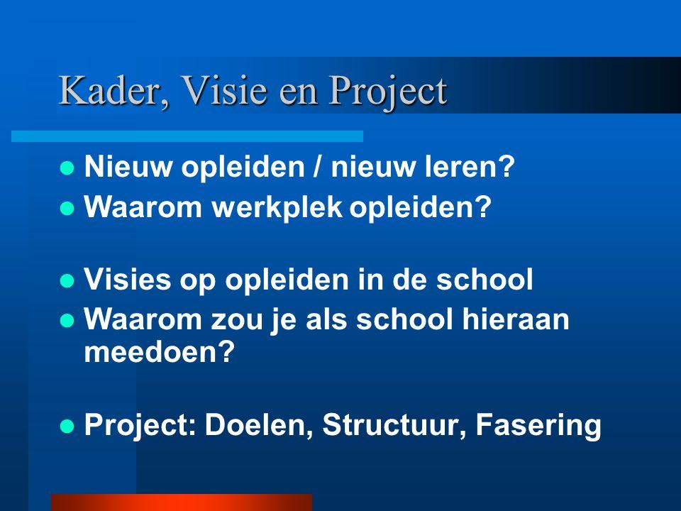 Project: Doelen (2) Experimenteren met nieuwe vormen van werkplek opleiden –Van aanbodgestuurd naar vraaggestuurd –Afstemming opleidingsdocent/ pabo-docent Vergroten begeleidingsvaardigheden Bijdrage aan verbetering/ vernieuwing van onderwijs Gezamenlijke visie ontwikkelen op leren in de school