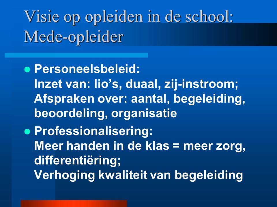 Visie op opleiden in de school: Leverancier van stageplaatsen Personeelsbeleid: begeleiden van studenten; geen onderdeel personeelsbeleid Professional