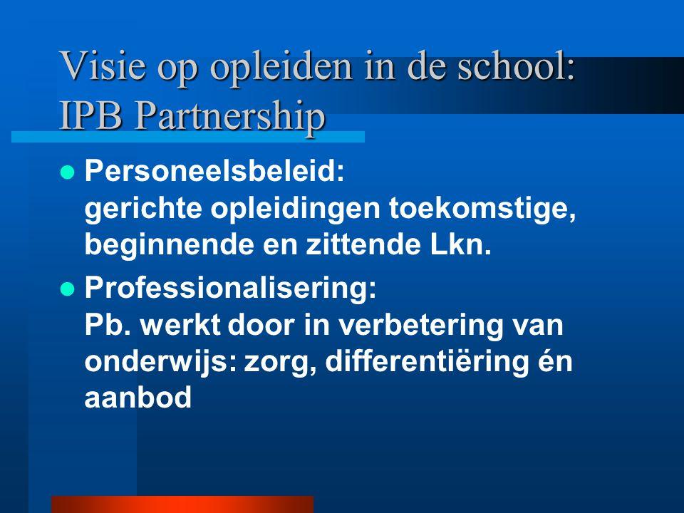 Visie op opleiden in de school: IPB Partnership Personeelsbeleid: gerichte opleidingen toekomstige, beginnende en zittende Lkn.