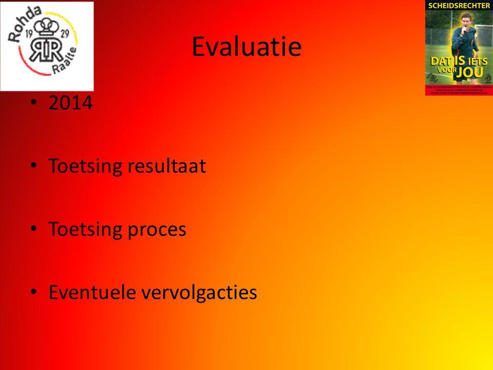 Evaluatie 2014 Toetsing resultaat Toetsing proces Eventuele vervolgacties