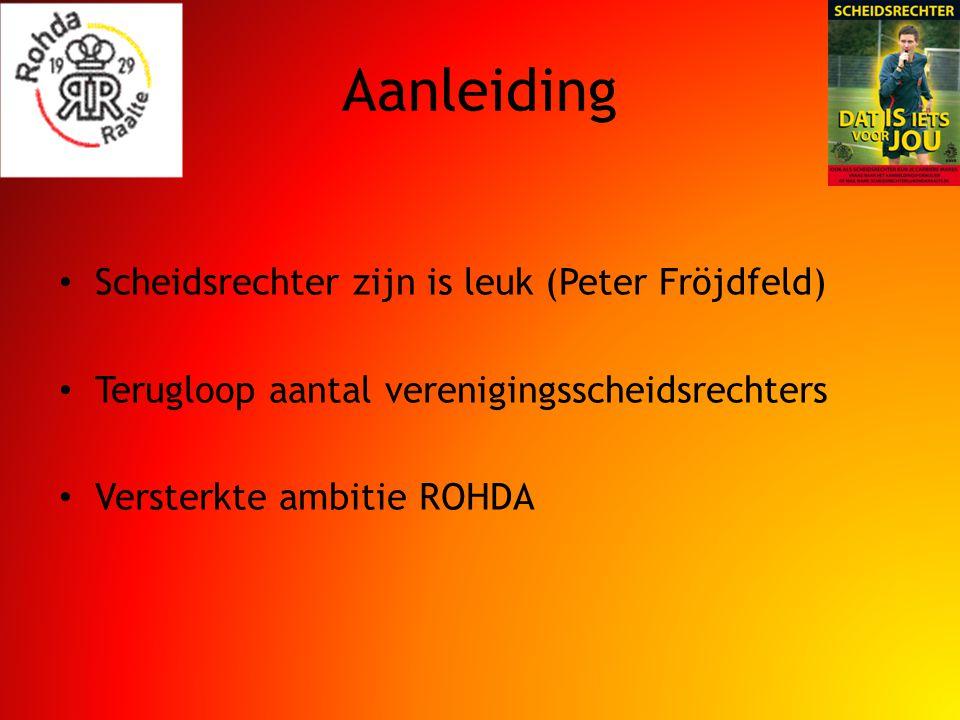 Aanleiding Scheidsrechter zijn is leuk (Peter Fröjdfeld) Terugloop aantal verenigingsscheidsrechters Versterkte ambitie ROHDA