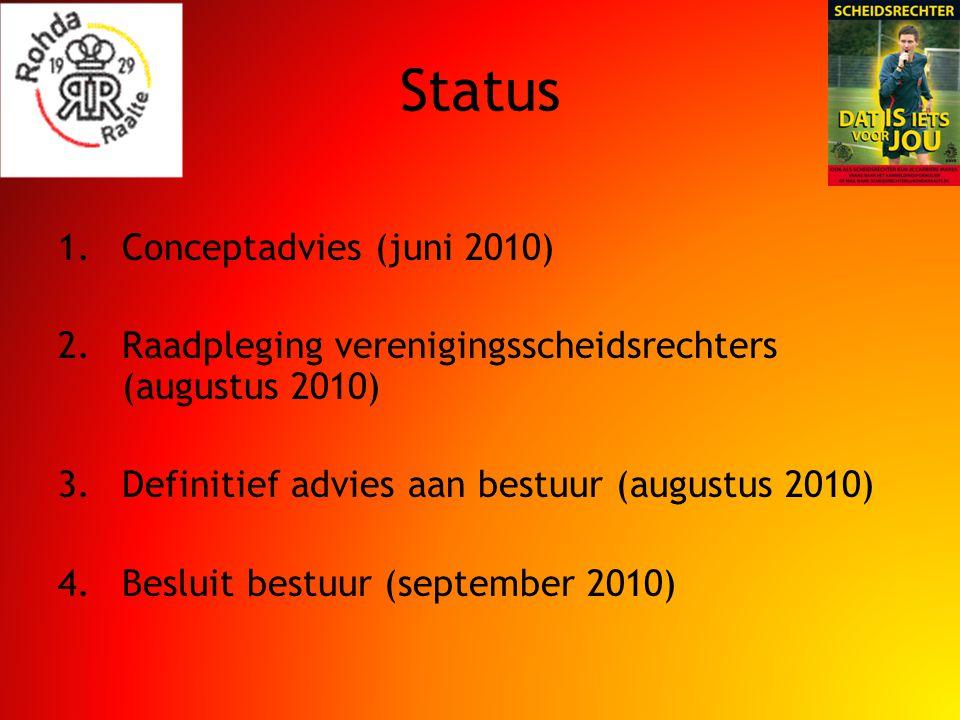 Status 1.Conceptadvies (juni 2010) 2.Raadpleging verenigingsscheidsrechters (augustus 2010) 3.Definitief advies aan bestuur (augustus 2010) 4.Besluit bestuur (september 2010)