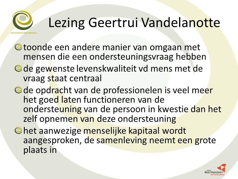 Lezing Geertrui Vandelanotte toonde een andere manier van omgaan met mensen die een ondersteuningsvraag hebben de gewenste levenskwaliteit vd mens met