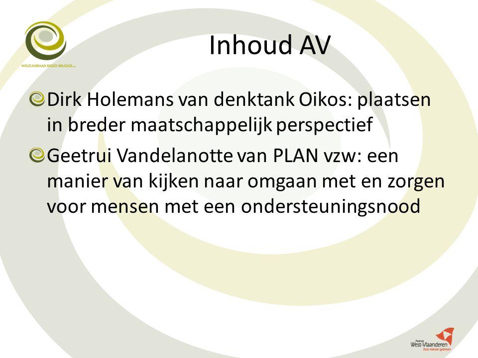 Inhoud AV Dirk Holemans van denktank Oikos: plaatsen in breder maatschappelijk perspectief Geetrui Vandelanotte van PLAN vzw: een manier van kijken na