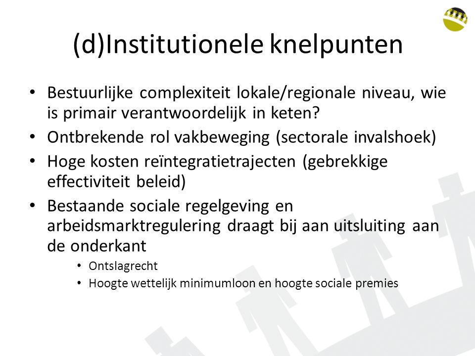 (d)Institutionele knelpunten Bestuurlijke complexiteit lokale/regionale niveau, wie is primair verantwoordelijk in keten.