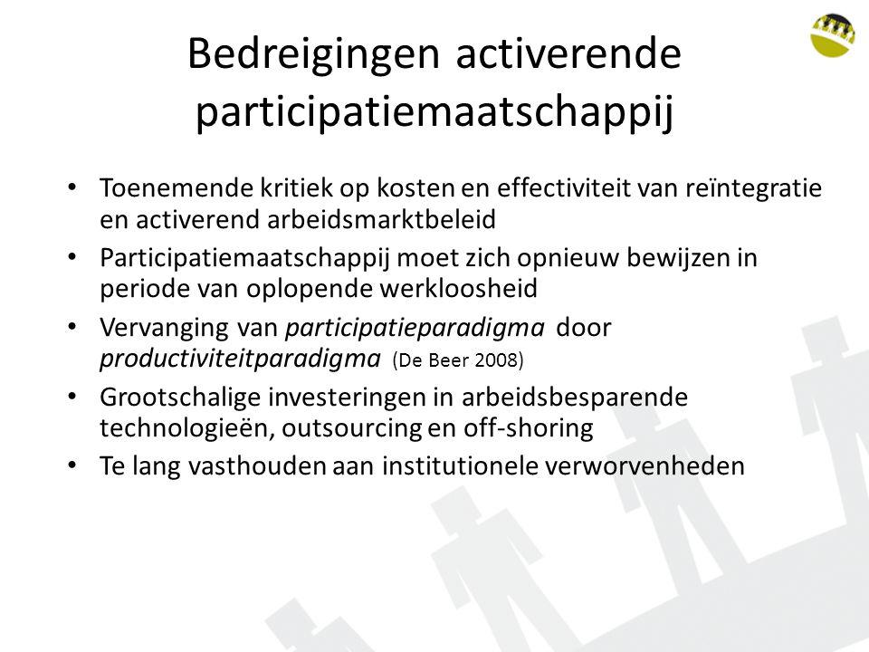 Bedreigingen activerende participatiemaatschappij Toenemende kritiek op kosten en effectiviteit van reïntegratie en activerend arbeidsmarktbeleid Participatiemaatschappij moet zich opnieuw bewijzen in periode van oplopende werkloosheid Vervanging van participatieparadigma door productiviteitparadigma (De Beer 2008) Grootschalige investeringen in arbeidsbesparende technologieën, outsourcing en off-shoring Te lang vasthouden aan institutionele verworvenheden