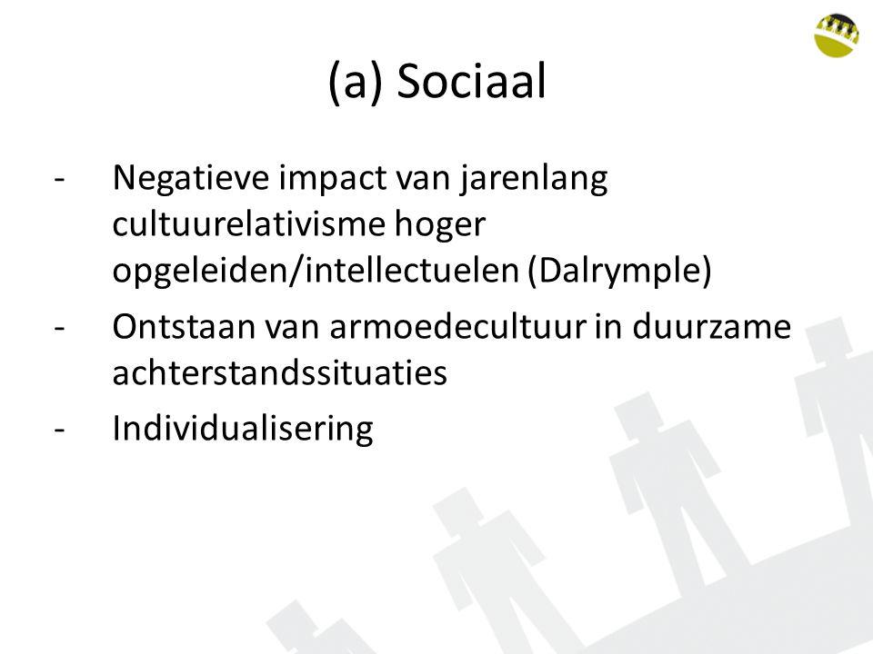 (a) Sociaal -Negatieve impact van jarenlang cultuurelativisme hoger opgeleiden/intellectuelen (Dalrymple) -Ontstaan van armoedecultuur in duurzame achterstandssituaties -Individualisering