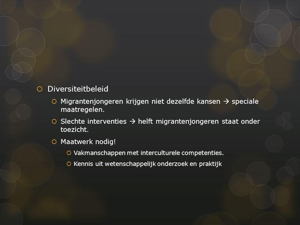  Meetladder  Meetladder Diversiteit  Ontwikkeld door Trees Pels en Verwey-Jonker Instituut  Interventies opbouwen geschikt voor migranten  Via tien aandachtspunten  Toont wat voor verbetering vatbaar is  Houvast bij ontwikkeling nieuwe interventies  Bedoeling: integreren in bestaande processen  Meetladder zelf ook onderworpen aan evaluatie