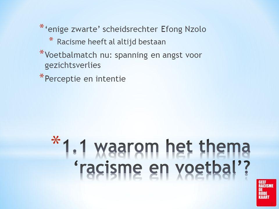 * 'enige zwarte' scheidsrechter Efong Nzolo * Racisme heeft al altijd bestaan * Voetbalmatch nu: spanning en angst voor gezichtsverlies * Perceptie en intentie