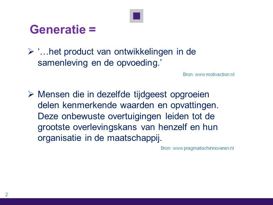3 Uit welke 4 generaties bestaat werkend Nederland.
