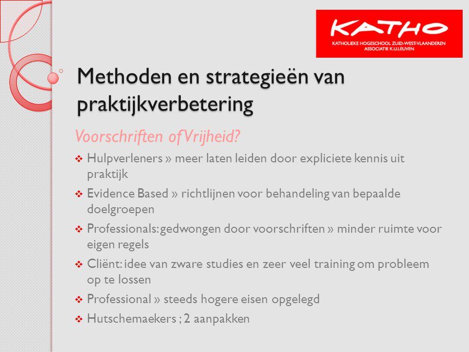 Een bredere blik op methoden en strategieën van praktijkontwikkeling Direct op de professional gerichte strategieën  Congressen & trainingen  Workshops  Praktijkbezoeken