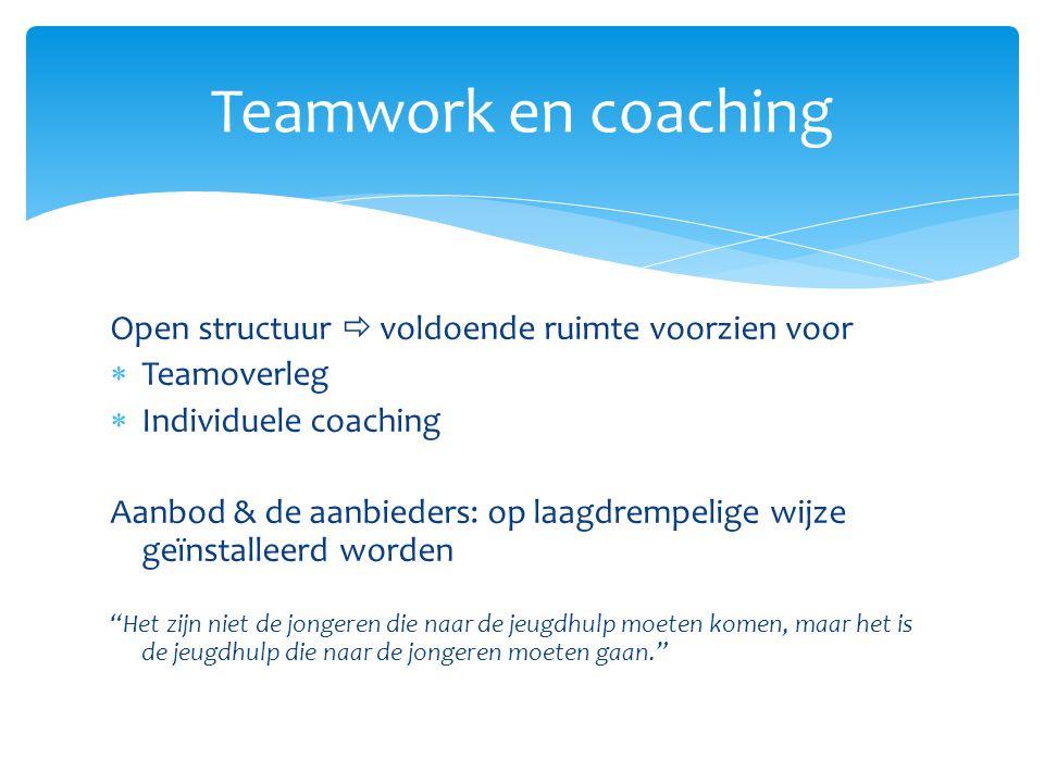 Open structuur  voldoende ruimte voorzien voor  Teamoverleg  Individuele coaching Aanbod & de aanbieders: op laagdrempelige wijze geïnstalleerd wor
