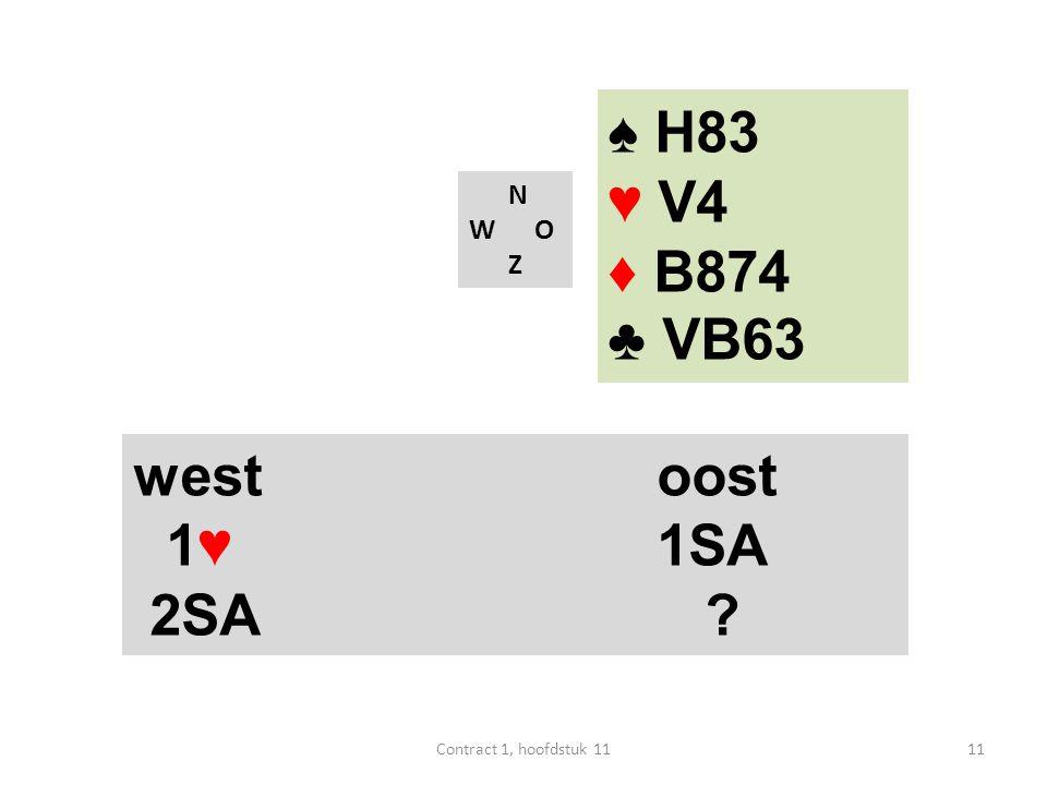N W O Z west oost 1♥1SA 2SA ? 11Contract 1, hoofdstuk 11 ♠ H83 ♥ V4 ♦ B874 ♣ VB63