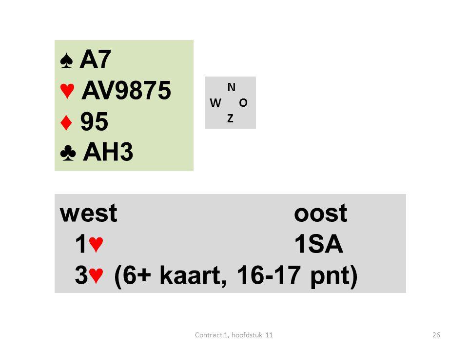 N W O Z west oost 1♥1SA 3♥ (6+ kaart, 16-17 pnt) 26Contract 1, hoofdstuk 11 ♠ A7 ♥ AV9875 ♦ 95 ♣ AH3