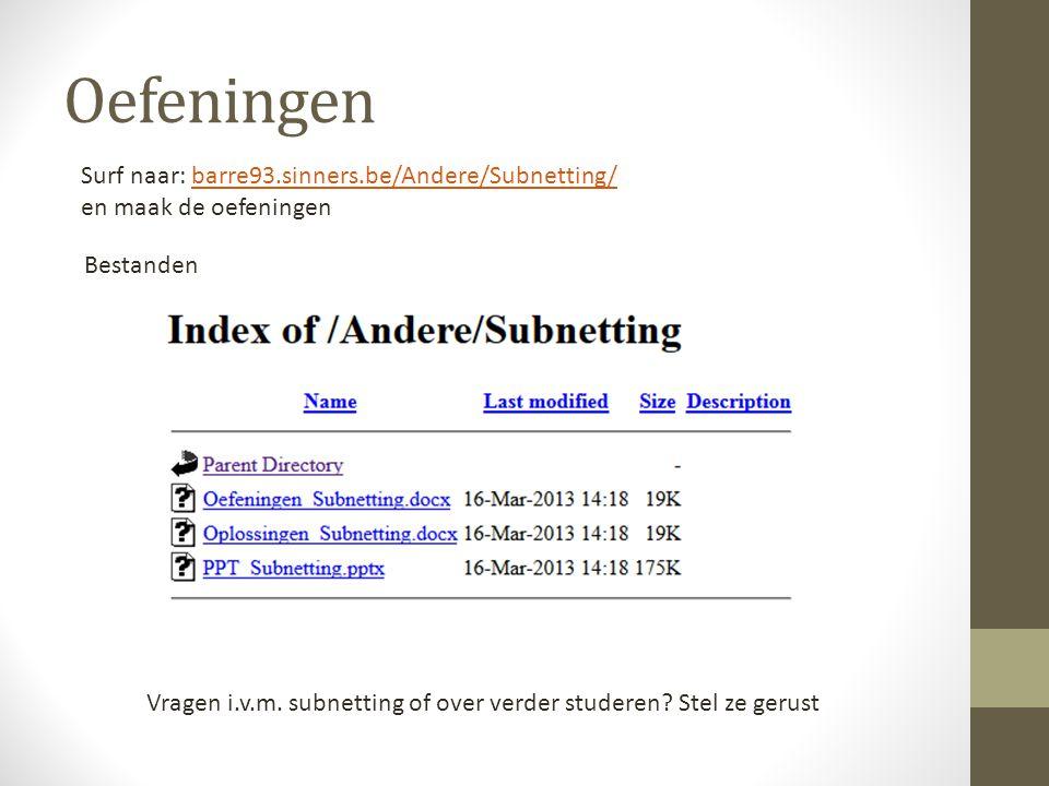 Oefeningen Surf naar: barre93.sinners.be/Andere/Subnetting/barre93.sinners.be/Andere/Subnetting/ en maak de oefeningen Bestanden Vragen i.v.m. subnett