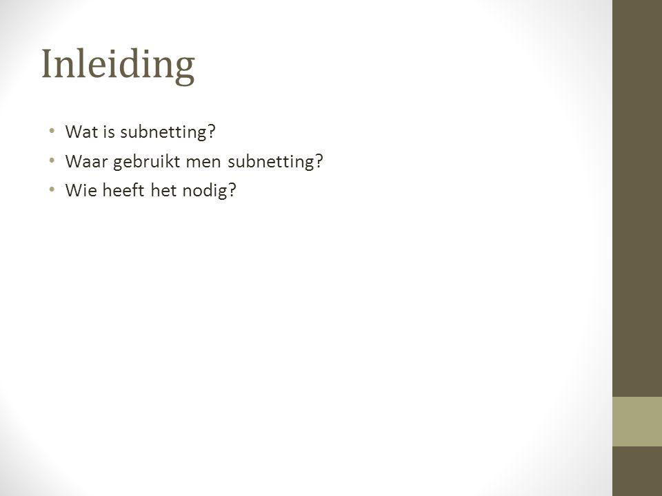 Inleiding Wat is subnetting? Waar gebruikt men subnetting? Wie heeft het nodig?