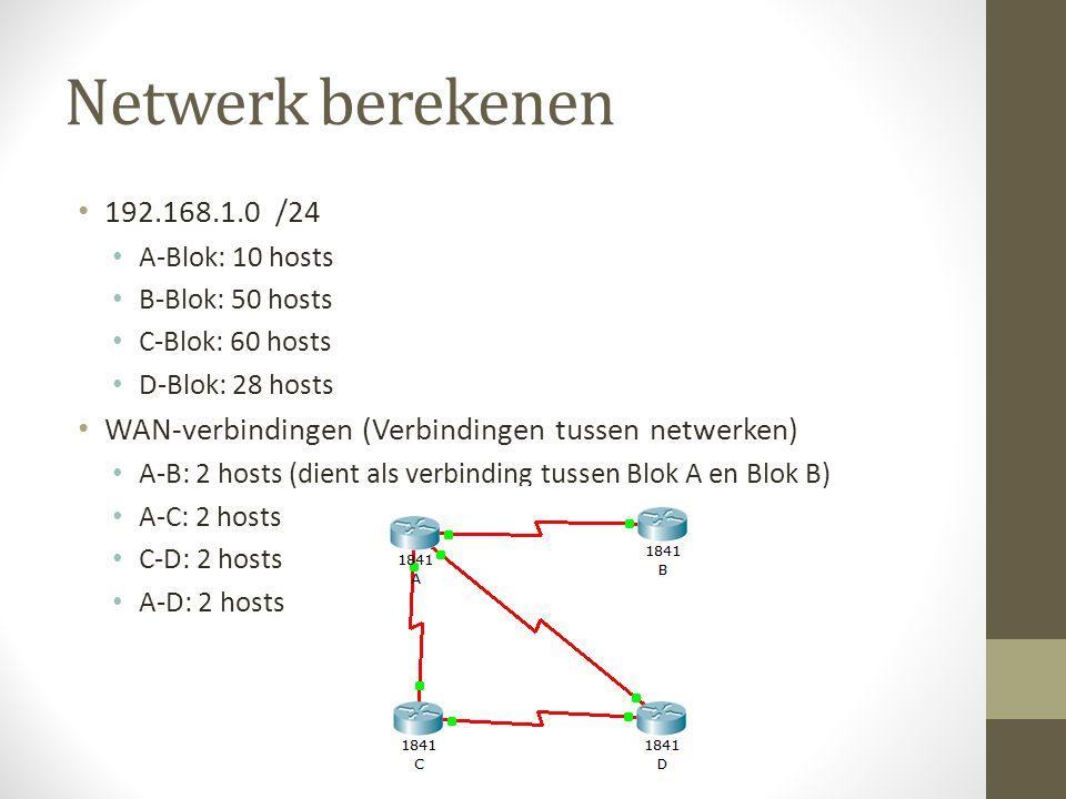 Netwerk berekenen Netwerkgrootte bepalen 192.168.1.0 /24 2 ^8 = 256 Van deze zijn er 2 gereserveerd voor het netwerkadres en het broadcastadres, dus -2 254 IP-adressen beschikbaar